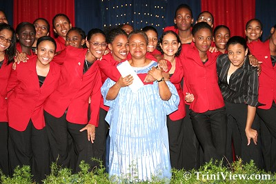 The Bishop's Anstey Choir and their choir mistress, Loraine Granderson